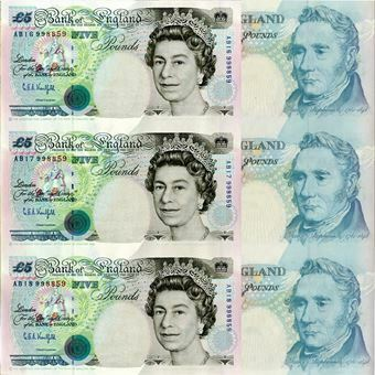 Picture of Uncut Sheet of Three Bank of England £5 Notes
