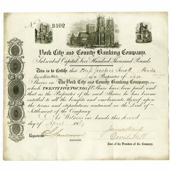 Picture of York City & County Banking Co Share 1850-80's