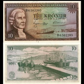 Picture of Iceland, Corrected 10 Kronur (P38b) 1957 Unc