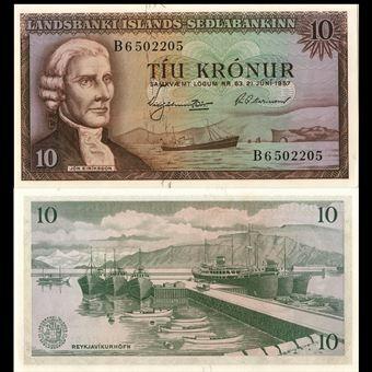 Picture of Iceland, Corrected 10 Kronur (P38b) 1957 Unc
