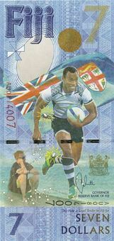 Picture of Fiji 7 Dollars 2017 P120 Rugby Commemorative Unc