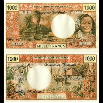 Picture of New Hebrides 1000 Francs - 1970 - P20 (uncirculated)