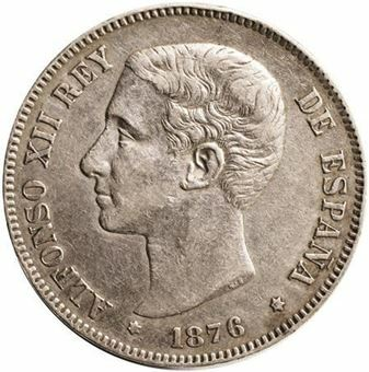 Picture of Spain, 5 Pesetas Alfonso XII King 1875-6