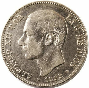 Picture of Spain, Alfonso XII 5 Pesetas 1882-85 (Crown Sized with beard)