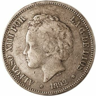 Picture of Spain, 5 Pesetas Alfonso XIII Curly Hair 1892-4