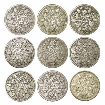 Picture of George V, Sixpence 1928-1936 Set