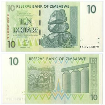 Picture of Zimbabwe 10 Dollars 2007 P67 Uncirculated