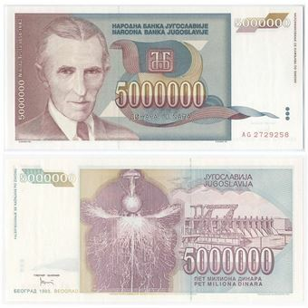 Picture of Yugoslavia 5 Million Dinara 1993  P121Unc