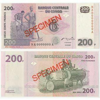 Picture of Congo Democratic Republic 200 Francs 2007 P99s Specimen Unc