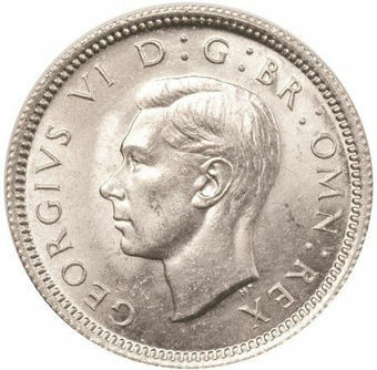 Picture of George VI, Sixpence 1945 Choice Brilliant Unc