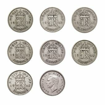 Picture of George VI, Collection of World War II Silver Sixpences