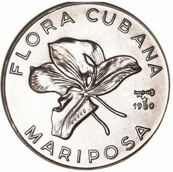 Picture of Cuba, 1 peso 1980 Flora Mariposa CN