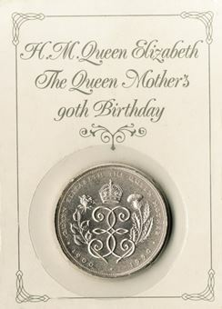 Picture of Elizabeth II, £5 Queen Mother 90th Birthday, 1990