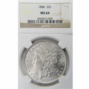 Picture of United States of America, 1886 Morgan Silver Dollar, Choice BU / MS64