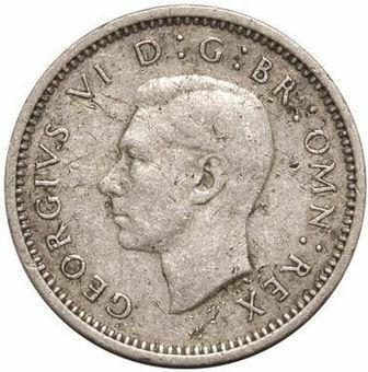 Picture of George VI, Threepence (Silver) 1941 Fine