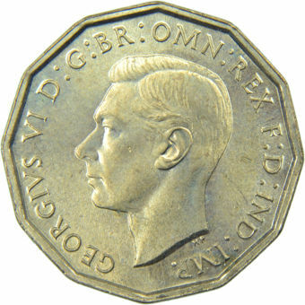 Picture of George VI, Threepence (Brass) 1941 Choice BU