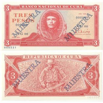 Picture of Cuba, 3 pesos 1985 Specimen (P107s) Uncirculated