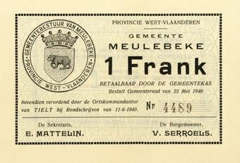 Picture of Belgium Meulebecke Ration Coupons 1-20 Francs 1940 (5 values)  Unissued