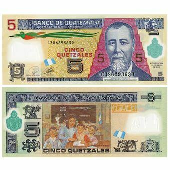 Picture of Guatamala 5 Quetzales 2011 P122 Polymer Plastic Unc