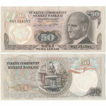Picture of Turkey 50 Lirasi 1970 P124 Unc