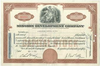 Picture of United States of America, USA Mission Development Co Share Cert Signature J Paul Getty