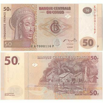 Picture of Congo Democratic Republic 50 Francs 2007 P97 Unc