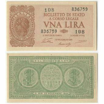 Picture of Italy 1 Lira 1944 P29 Unc