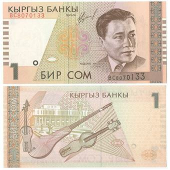 Picture of Kyrgystan 1 Som 1999 P15 Unc