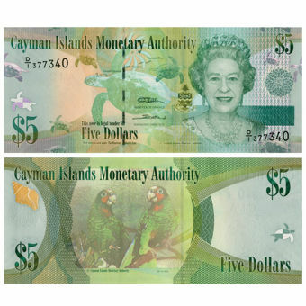 Picture of Cayman Islands 5 Dollars 2010-4 P39 Unc