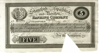 Picture of Stamford Spalding and Boston Banking Co £5 Cut Cancelled GEF/ Unc