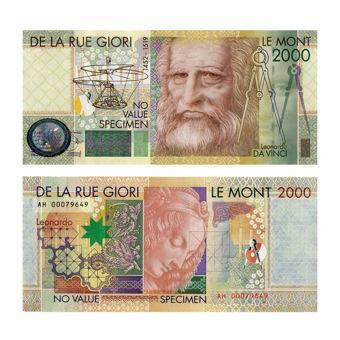 Picture of De La Rue Giori Promotional Leonardo Da Vinci Banknote