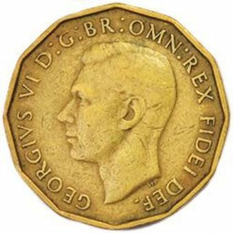 Picture of George VI, Threepence Brass Circulated, 1949