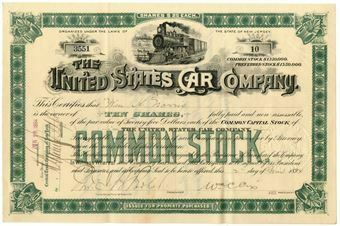 Picture of United States of America, United States Car Company  Share Certificate 1894