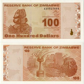 Picture of Zimbabwe 100 New Dollars 2009 P97 Unc