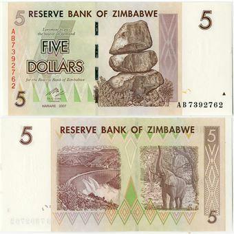 Picture of Zimbabwe 5 Dollars 2007 P66  Unc