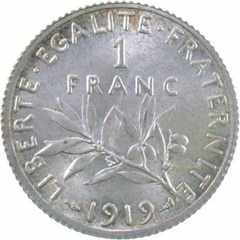 Picture of France, 1 Franc Ext Fine 1919