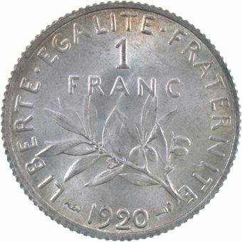 Picture of France, 1 Franc Ext Fine, 1920