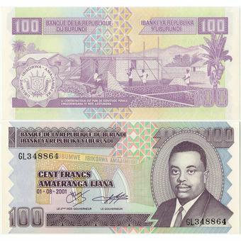 Picture of Burundi 100 francs 2001 P37 Unc