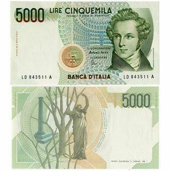 Picture of Italy, 5000 Lire 1985 P111 Unc