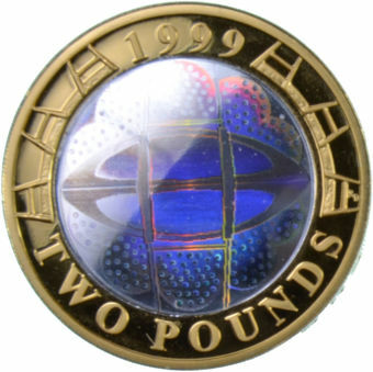Picture of Elizabeth II, £2 (Rugby World Cup) 1999 Silver Piedfort