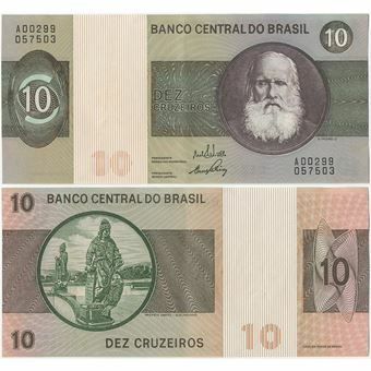 Picture of Brazil 10 Cruzeiros (1970-80) P193 Crisp EF/GEF