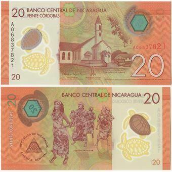 Picture of Nicaragua 20 Cordobas 2014 P211 Plastic Unc