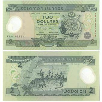 Picture of Solomon Islands 2 Dollars 2001 P23 Plastic Unc
