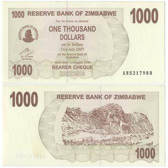 Picture of Zimbabwe 1000 Dollars 2006/7 P44 Unc