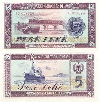 Picture of Albania 5 Leke 1976 P42 Unc