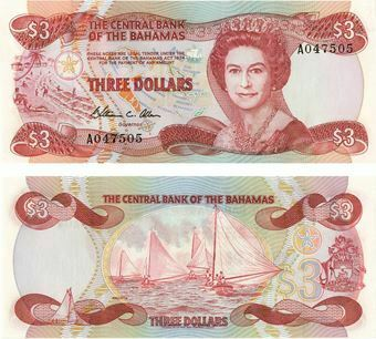 Picture of Bahamas 3 Dollars P44a Unc