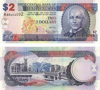 Picture of Barbados 2 Dollars 2007 P66 Unc