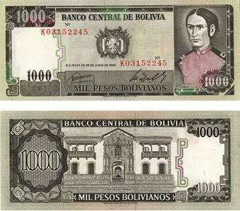 Picture of Bolivia 1000 pesos  bolivianos P167a Unc