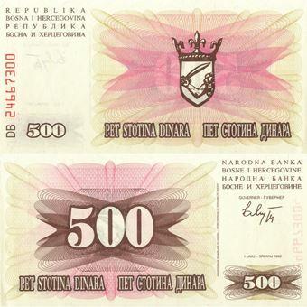 Picture of Bosnia Hercogovina 500 dinara 1992 P14 Unc