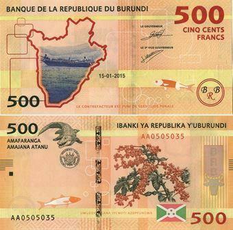 Picture of Burundi 500 Francs 2015 P50  Unc